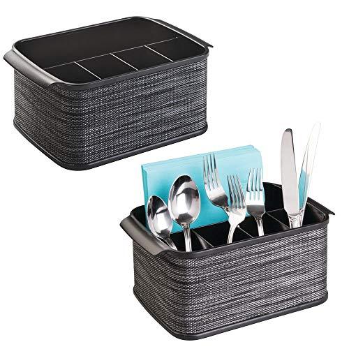 mDesign 2er-Set Besteckhalter mit Griffen – eleganter Besteckkorb für die Küche oder das Picknick – mit 4 kleinen und einem großen Fach für eine Besteckaufbewahrung inkl. Servietten – schwarz