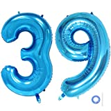 Ceqiny 40 Inches 39th Number Balloon Mylar Balloon Giant Balloon Alphabet Foil Balloon for Birthday Party Wedding Bridal Shower Engagement Photo Shoot Anniversary Decoration, Blue Digit 39 Balloon