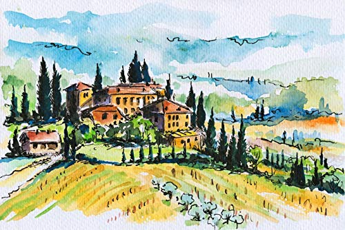 Tuscany, Italy - Watercolor Landscape - Illustration A-92486 (9x12 Art Print, Wall Decor Travel Poster)