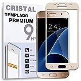 REY Protector de Pantalla Curvo para Samsung Galaxy S7, Oro, Cristal Vidrio Templado Premium, 3D / 4D / 5D
