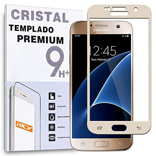REY Protector de Pantalla Curvo para Samsung Galaxy S7, Oro, Cristal Vidrio...