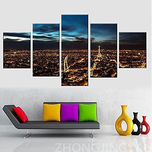 Modern Art Poster Wall Modular Bild 5 Panel Paris bei Nacht Druck auf Leinwand für Wohnzimmer Kunst / rahmenlos