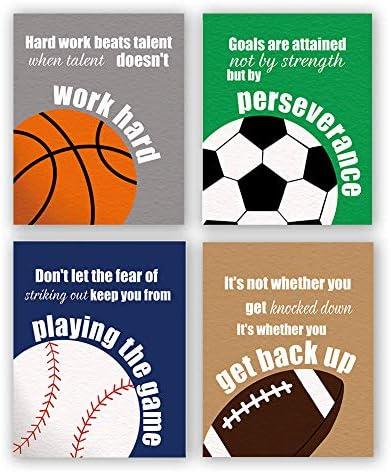 Set of 4 Colorful Sport Inspirational Quote Art Print Basketball Football Baseball Soccer Sport product image