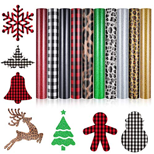 10 Sheets Christmas Buffalo Plaid Heat Transfer Vinyl Leopard Print HTV Vinyl PU Glitter Heat Transfer Vinyl Adhesive Iron-on Vinyl Clothing Patches Sheets for T-Shirt Hat Bag Pillow, 12 x 10 Inch