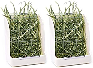 CalPalmy 2-Pack Hay Feeder for Rabbits, Guinea Pigs, and Chinchillas - Minimize Waste and Mess with 5 1/2