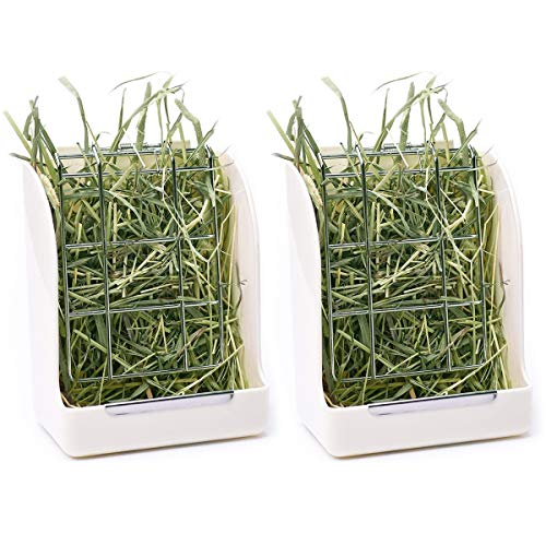 CalPalmy 2-Pack Hay Feeder for Rabbits, Guinea Pigs, and Chinchillas - Minimize Waste and Mess with 5 1/2' x 3' x 7 3/8' Hanging Alfalfa and Timothy Hay Dispenser