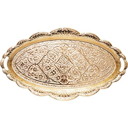 Türkische Ottoman Kaffee Tee Getränk Servieren Tablett Ellipse (Antik Gold)