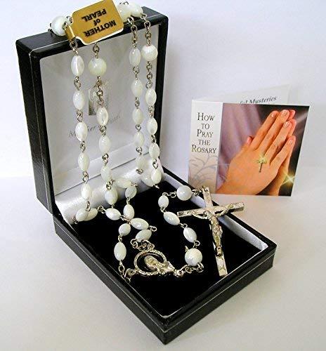Rosenkranz aus echtem Perlmutt, handgefertigt, mit Gebetsbroschüre
