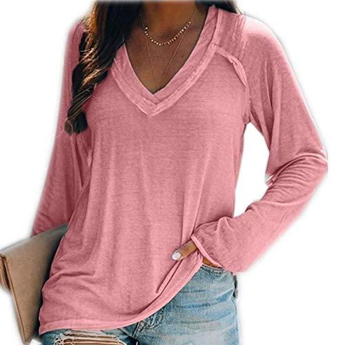 Einfarbiges, lässiges, langärmeliges Pullover-T-Shirt mit tiefem V-Ausschnitt für Frauen im Herbst/Winter