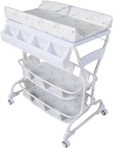 GOHHK Portable Baby Changing Unit Table with Bath  Dresser Station Table Unit Storage Infant Nursery Trays