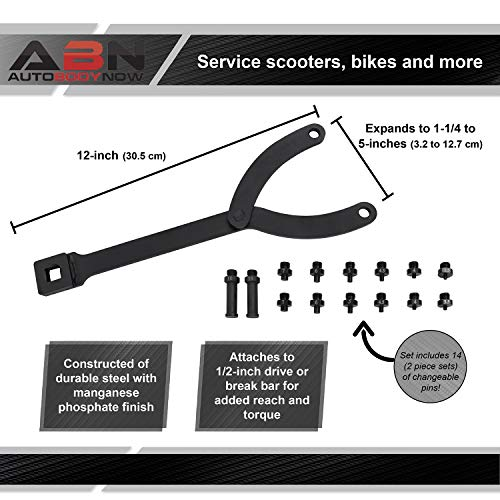 ABN Cylinder Spanner Wrench Set - 15Pc Adjustable Pin Spanner Wrench with Variable Spanner Wrench Pins