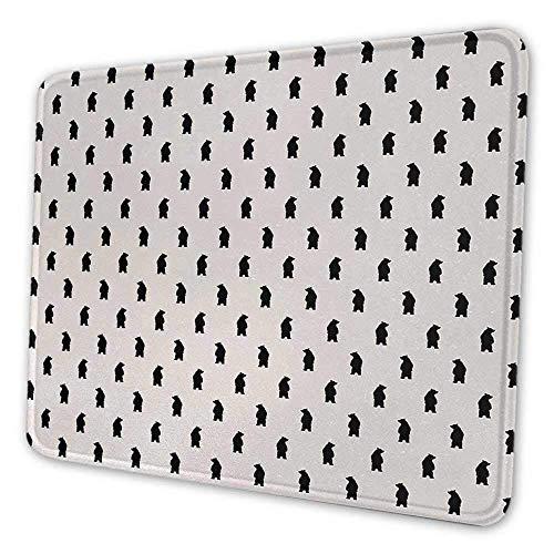 Animal Gaming Mouse Pad Bär Silhouetten auf Creme Hintergrund abstrakt Simplistic Style Muster Druck Anti-Falten Maus Pad Creme und Schwarz