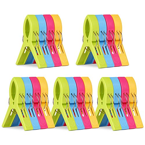 KSPOWWIN 20 Pack Beach Towel Clips Chair Clips Towel Holder for Beach Chair Pool Chairs on Cruise-Jumbo Size, Plastic Chair Towel Clips Clamp...