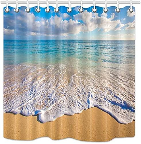 Strand DuschvorhangTropischer Ozean & Wellen bei Sonnenaufgang Sonne auf MeerUpgrades Stoff Badezimmer DekorationenBad Gardinen Haken enthalten