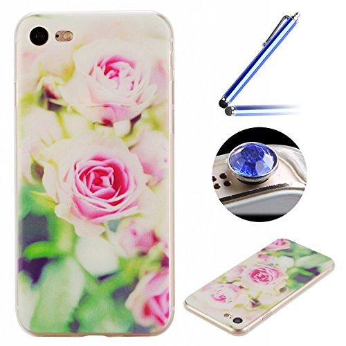 Etsue Doux Protecteur Coque pour iPhone 7,TPU Matériau Frame est Transparent Soft Cover pour iPhone 7,Coloré Motif par Dessin de Mode Case Coque pour iPhone 7 + 1 x Bleu stylet + 1 x Bling poussière plug (couleurs aléatoires)-Rose romantique