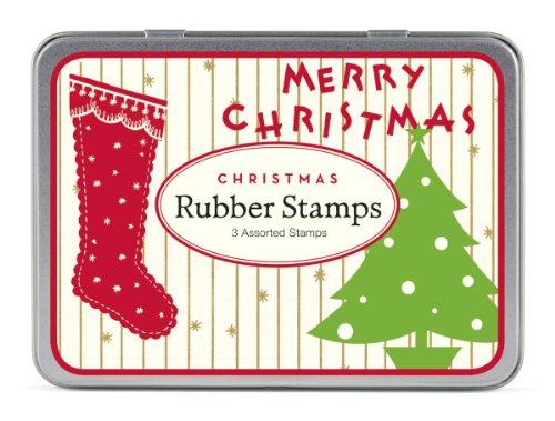 Cavallini & Co. Vintage Kerstmis Ontworpen Houten Rubber Stempel Set in een Tin - Verschillende (Pak van 3)
