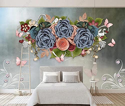 Wallpaper 3D Wallpapers Walls Mural Floral Pattern, Flowers, Butterfly Wall Murals for Bedrooms Living Room Tv Background Wall Mural Decoration Art 300x210cm