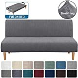 H.VERSAILTEX Armless Futon Cover Stretch Sofa Bed Slipcover Protector Elastic Feature Rich Textured High Spandex Small Checks Jacquard Fabric Sofa Shield Futon Cover, Machine Washable, Gray