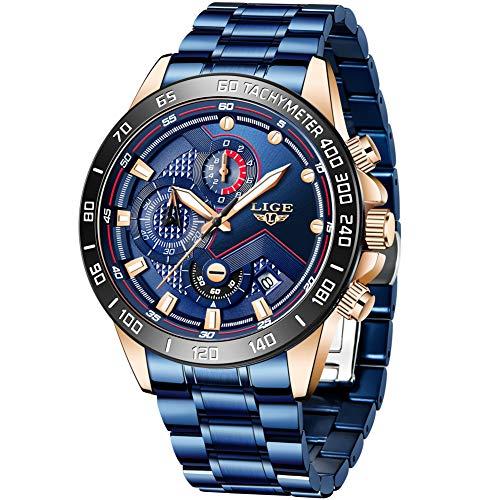 LIGE Herren Uhren Männer Sport Wasserdicht Chronograph Edelstahl Blau Armbanduhr Lässige Herrenuhr Markenuhren Datum Business Analog Quarz Uhr