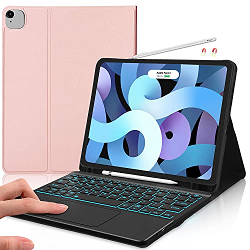 IVEOPPE Funda con teclado compatible con iPad Air 4th Gen 10.9'' 2020, teclado magnético Bluetooth retroiluminado, funda fina para iPad Air 10.9/iPad Pro 11 2020/2018 (oro rosa)