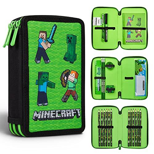 Minecraft Federmäppchen Junge Gefüllt, Federtasche Junge gefüllt mit Schreibwaren, 3 Fächer Pencil Case, Einschulung Junge
