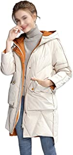ZYDP Womens Warm Winter White Duck Hooded Long Coat Jacket Back Words Printing Zipper Front with Two Deep Pockets (Color : Beige, Size : S)