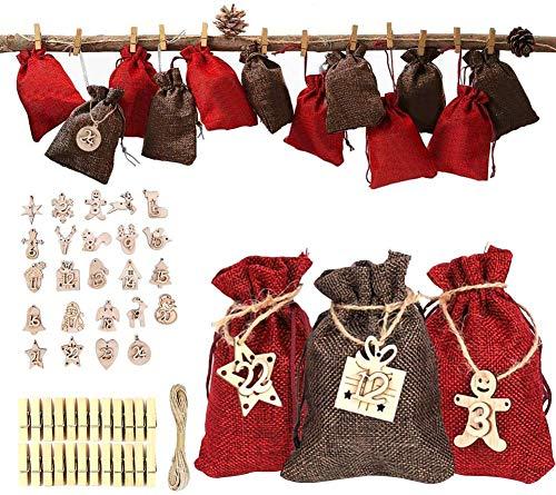 Yococobuy 24 Adventskalender mit Weihnachten Geschenksäckchen, Adventskalender zum Selber Befüllen, Adventskalender zum Befüllen Groß, Säckchen für Adventskalender, Jutesack