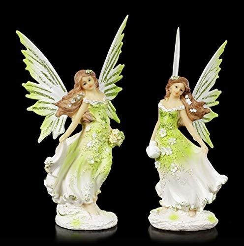 Elfen Fantasy-Figuren - Meadow Sisters - 2er Set   Deko-Figuren, handbemalt, Flügel zum Stecken, H 21 cm