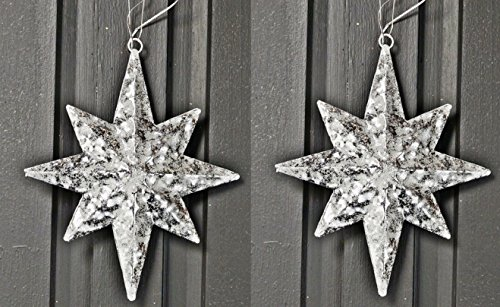 Pair! North Star Ornaments in White Washed and Glittered Metal