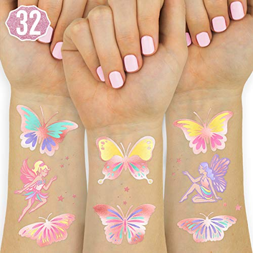 xo, Fetti Butterfly + Fairy Temporary Tattoos for Kids - 48 Glitter styles | Birthday Party Supplies