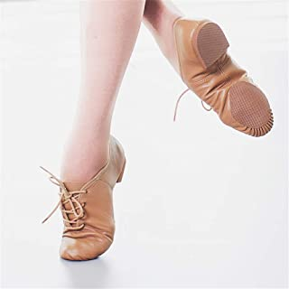 Dance Shoes Women's Leather Soft Sole with Heel Training Shoes, Fashionable Dance Shoes, Wear-Resistant Non-Slip Comfort, Effectively Adjust The Elastic Band,Brown,36