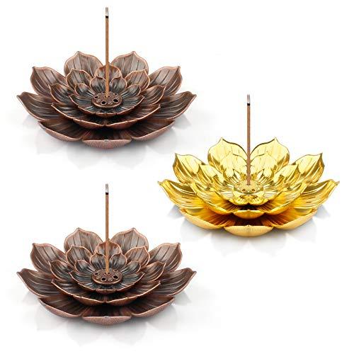 Porta incenso Lotus, 3 Pezzi Porta incenso Lotus Sono usati per incenso e Decorazione, Il Porta incenso Lotus Stick ha Un Raccoglitore di Cenere e Un Supporto per Bastoncini di incenso