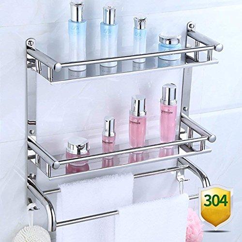 M-J Bad Racks Badkamer Opslag Rack 2 Laag RVS Badkamer Stijlvolle Eenvoud Handdoek Rack Cosmetische Opslag Rack (Kleur: A, Maat: 40 Cm), b,