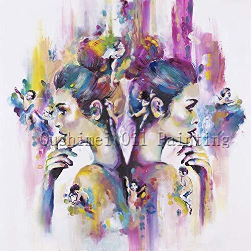 T-YIFUZX Pintura al óleo de la Cara de los ángeles Decorativos de la Navidad en lienzogemelos señora Retrato Pared Arte Acuarela cuadros-80x80cm
