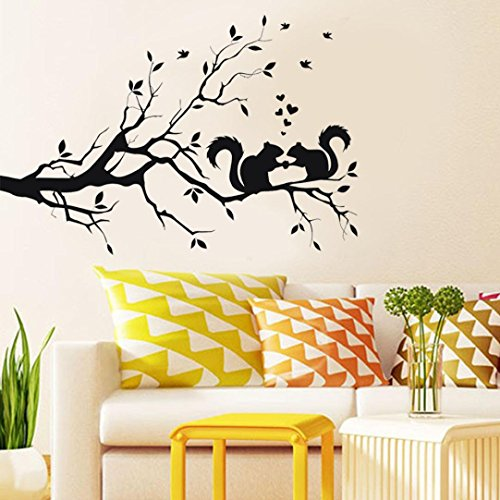 Vacally Wall Decor Squirrel On Long Tree Branch Wall Sticker Wallpaper Animals Cats Art Decal Kids Bedroom Background Room Decor