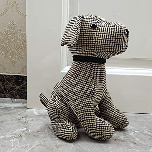 Animal Interior Door Stopper Doorstops Book Stopper Wall Protectors Anti Collision Decorative Dog (Brown Plaid)