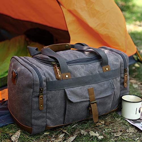 Plambag Canvas Duffle Bag, 50L Large Travel Duffel for Overnight Weekend Luggage(Gray)