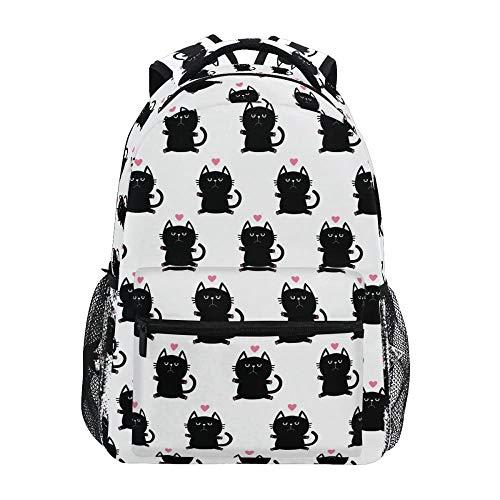 New Women Rucksack Student Schoolbag Wasserdichte Katzendrucke mit großer Kapazität Travel Bagpack High School Taschen für Mädchen im Teenageralter Kinder