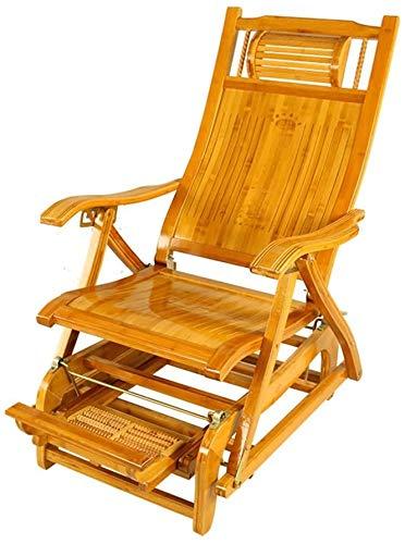 Liegestuhl Klappbar Klappsessel Liegestühle Freizeit Bambus Schaukelstuhl zusammenklappbare Old Man-Schwingen-Stuhl Mittagspause im Freien Balkon zusammenklappbaren (Farbe, B),EIN