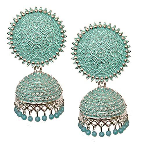 Pahal Jaipur tradicional Jaipur turquesa azul perla pintada redonda grande plata Jhumka pendientes del sur de la India Bollywood joyería nupcial para mujeres