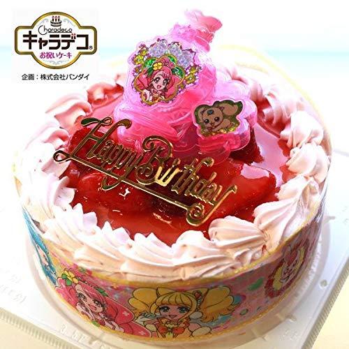 バースデー/ヒーリングっど・プリキュア2020・キャラデコお祝いケーキ・ストロベリー色の生クリーム苺デコレーションケーキ5号(バースデーオーナメント・キャンドル6本付き)