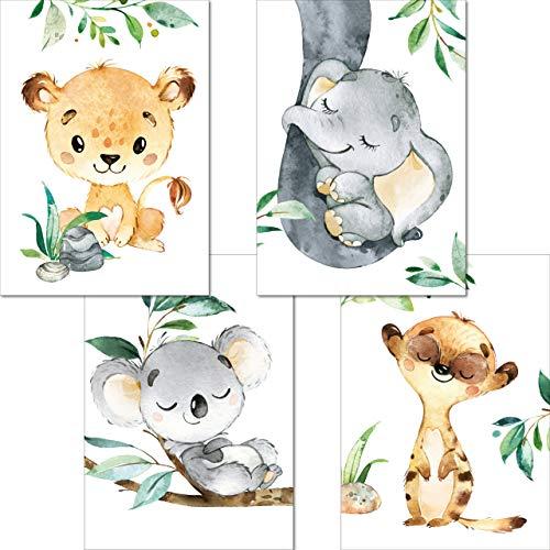 LALELU-Prints | A4 Bilder Kinderzimmer Deko Mädchen Junge | Zauberhafte Dschungel-Tiere | Poster Babyzimmer | 4er Set Kinderbilder (DIN A4 ohne Rahmen)