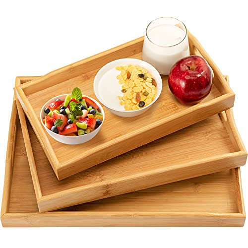 3 Pack Bamboo Serving Tray Food Tray with Handles, Multi-Use Platter Trays Set for Food, Coffee, Breakfast, Tea, Snack, Wooden Decor Tray Used in Kitchen, Dining Room, Party, Restaurants by Pipishell