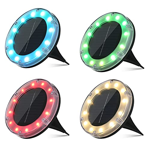 Boden Solarleuchte, Mehrfarbig Solar Bodenleuchte Tomshine 12 LED Solar Gartenleuchte Solarlampe mit Erdspieß IP68 Wasserdicht【4 Stück RGB】