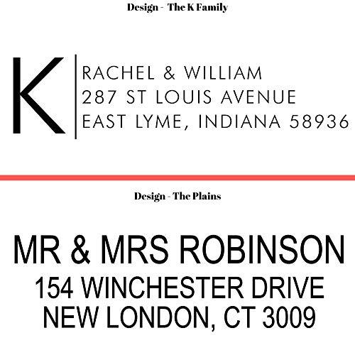 20 Designs to Choose!! Personalized - Address Stamp - Customized Stamp - Self-Inking Return Address Mail 3 Lines Custom Address Stamper - Black Red Blue Purple Green Ink - Wedding Invitation Stamp Photo #5