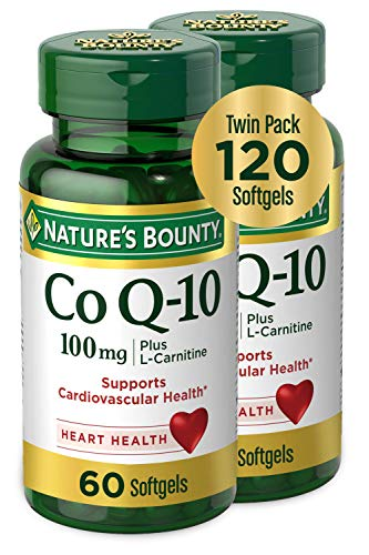 CoQ10 by Nature's Bounty, Dietary Supplement, Supports Heart Health, 100mg Plus L-Carnitine, Twin Pack, 120 Softgels