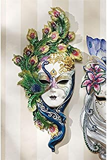 Design Toscano Peacock Feather Masks of Venice Wall Sculpture, 13 Inch, Polyresin, Full Color