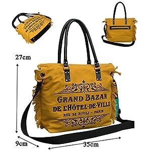 Canvas Tasche mit runden Lederhenkel und Lederboden. Gelbe Schultertasche mit Reißverschluss.Vintage Muster. Handasche…