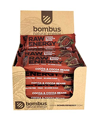 Raw Energy Cocoa & Cocoa Beans Healthy Snack 50g [20 Bars] – Natural Fruit Energy Bars- with no Added Sugar Gluten Free and Vegan Snack