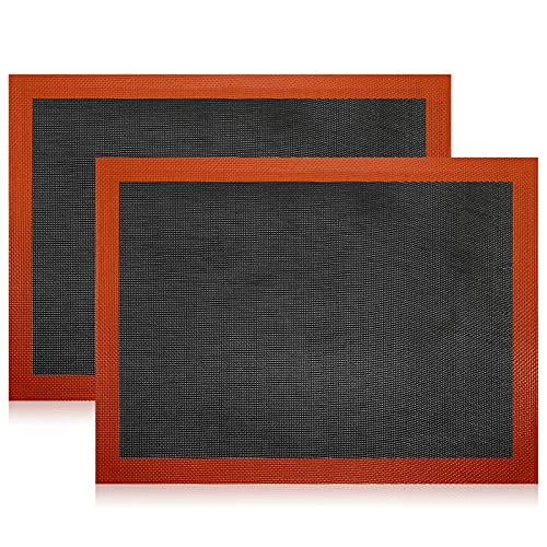 Alfombrilla de silicona para hornear, 2 unidades, antiadherente, lavable, reutilizable, resistente al calor, silicona de calidad profesional, apta para repostería, galletas, pan (40 x 30 cm)
